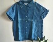 indigo + sashiko stitched vintage top 04