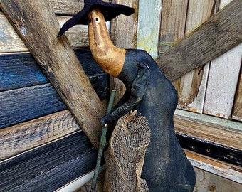 Primitive Witch Doll | Folk Art Witch | Halloween Witch | Halloween Decor | Halloween Doll | Primitive Witch Doll Gertie | Primitive Witch