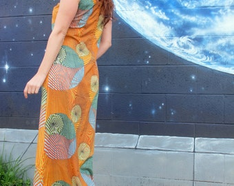 1960s 70s psychedelic spiral fractal geometric DRESS bright tank shift maxi spirograph // size S / M / L