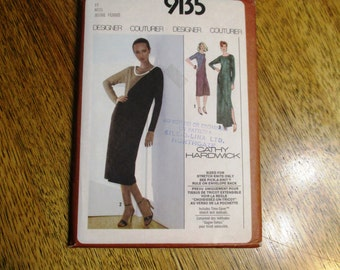 "1970s DESIGNER Cathy Hardwick Asymmetrical Knit Shift Dress - Size 10 (Bust 32.5"") - UNCUT Vintage Sewing Pattern Simplicity 9135"
