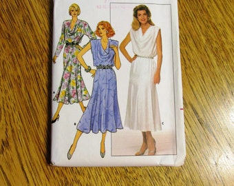 VINTAGE 1980s Sexy Fit and Flare Dress w/ Cowl Neckline & Trumpet Skirt - Size (8 - 10 - 12) - UNCUT Sewing Pattern Butterick 3887