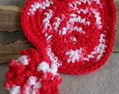 Crochet Dish Heart Wash cloth & Kitchen Scrubber from Recycled Mesh/Cotton Yarn