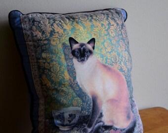Vintage Siamese Cat Decorative Pillow