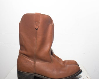 10.5 | Men's Brown Leather Western Ranch Boots