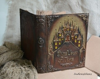 Large Fairytale wedding guest book, Once Upon a Time wedding guest book, castle guest book, Rustic wedding guest book, Medieval Wedding