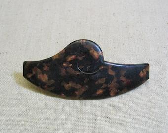Tortoise Shell Celluloid Hair Barrette, 1970s, MINT
