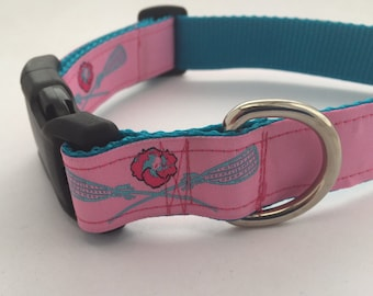 Pink and Aqua Lacrosse Adjustable Dog Collar