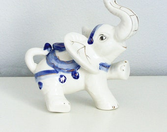 White Porcelain Elephant Figurine - Trunk Up Ceramic Elephant - White Chinoiserie Elephant Figurine - Blue White Lucky Elephant Gold Luster