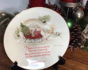 Vintage  Christmas Collectors Plate / Seventy Seven Christmas. Plate / Robert Laessig  Christmas Collectible