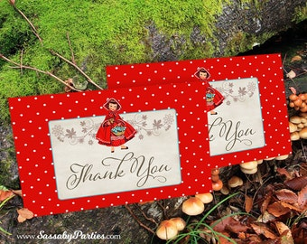 Red Riding Hood Thank You Cards - INSTANT DOWNLOAD - Printable Birthday Party Files by Sassaby Parties