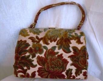 Vintage Tapestry Purse Large 1960's Multi Color Carpet Bag Cut Out