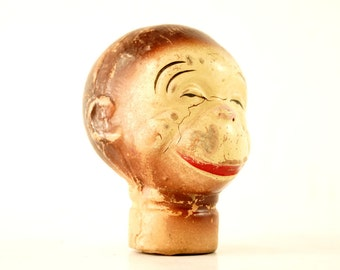 Vintage Composition Monkey Head Hand Puppet (c.1930s) N1 - Collectible Hard to Find Monkey, Curio Cabinet Display Prop