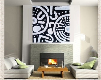 Ancient Markings 50 x 50 Tribal Large Art Black White Gray Original Painting Canvas Primitive Modern Hand Painted Symbols Archaeology