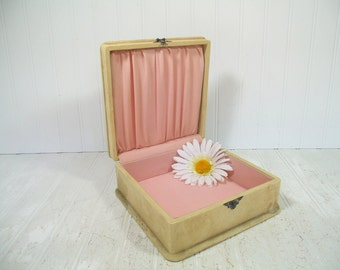 Antique Shabby Chic Stained Suede Covered Wooden Jewelry Box - Vintage Pink Linen Lined Well Worn Case - Artisan Chest Huylris NewYork Label