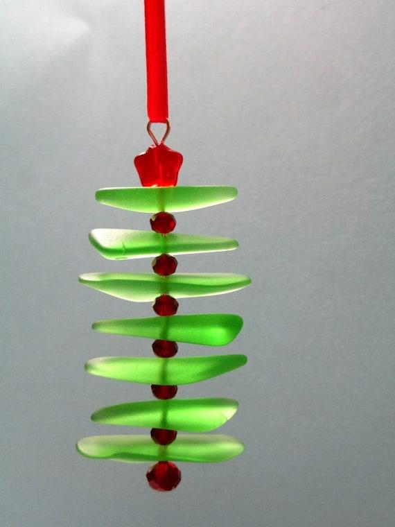 Sea Glass Christmas Ornament Beach Christmas Green Red