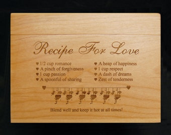 Recipe For Love, Recipe Box, Custom Recipe Box, Wood Recipe Box, Engraved Recipe Box, Recipe Cards