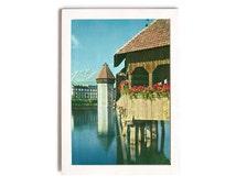 Switzerland Scenery Card • Kapellbrücke Covered Bridge • Lucerne Switzerland • Water Tower and Mount Pilatus • Outside View Swiss Postcard