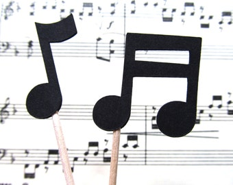 Music Notes Cupcake Toppers, Party Decor, Weddings, Showers, Birthdays, Graduation, Celebrations, Double-Sided, Black, Set of 24