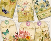 Secret Garden Tags printable art craft paper crafting scrapbooking color flowers instant digital download digital collage sheet - VDTAVI1394