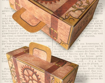 Steampunk Suitcase Box Printable diy gift box paper crafting party favor vintage instant digital download digital collage sheet - VDBXST1373