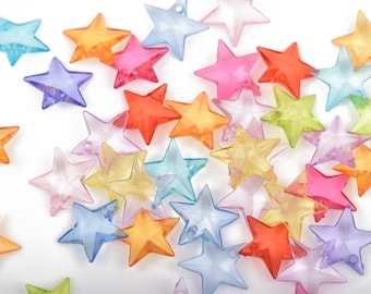 200 Acrylic STAR Drop Charms, mixed colors, 18mm . bulk package . cha0025