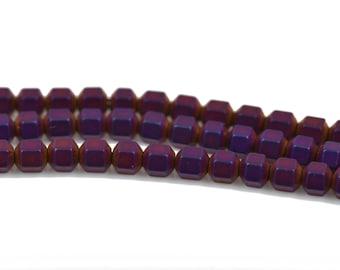 3mm Matte Purple Iris HEMATITE HEXAGON Beads, Titanium coated gemstone beads, full strand, 150 beads, ghe0121
