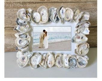 5 x 7 Frame, Oyster Shell Photo Frame, Seashell Photo Frame Beach Lovers Gift Shell Picture Frame, Seaside Decor, Beach Decor, Coastal Decor