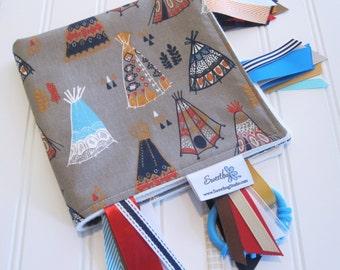 Sensory Ribbon Blanket,Lovey,Tag Blanket/Teepees in Shroom(Organic)/Organic Cotton Fleece