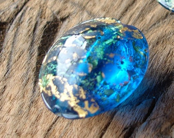 Blue  and gold  glass Murano Venetian rounded bead