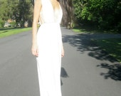 FREE SHIP! moon goddess - organic bamboo ivory maxi dress - bohemian boho chic hippie grecian festival beach wedding sundress