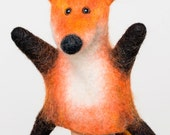 the furry fox hand puppet, wet felted, MADE TO ORDER
