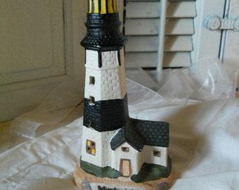 Vintage Porcelain Lighthouse Montauk, NY Cutaway WindowsNY Souvenir Figurine Home And Living Home Decor