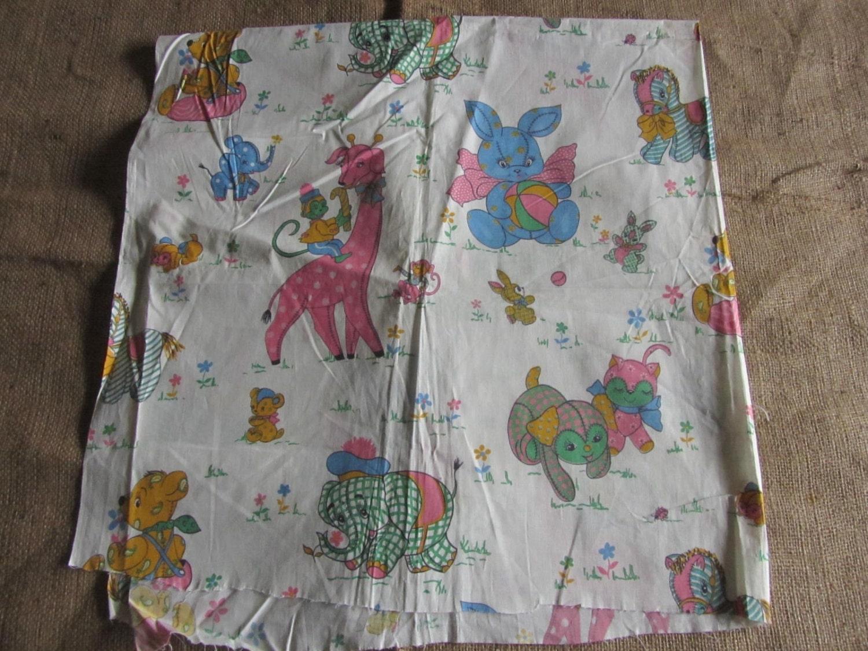 Vintage juvenile nursery baby fabric stuffed animals 36 x 36 for Retro nursery fabric