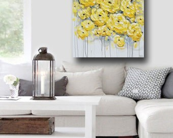 "ORIGINAL Art Abstract Painting Yellow Grey Flowers Large Acrylic Painting Wall Art Peonies Textured Palette Knife 30x40""- Christine Krainock"
