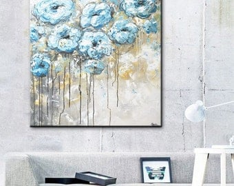 ORIGINAL Large Art Abstract Painting Floral Blue Flowers White Acrylic Painting Grey Wall Decor Home Decor Coastal White Textured- Christine