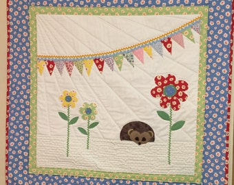 Hedgehog Baby Quilt in 30's Prints pennants flags and flowers