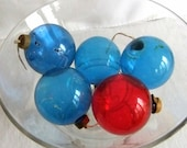 5 Vintage Glass Christmas Ornaments - Paper Cap, WWII, Red n Blue, Holiday, Ball, 1940, Unsilvered, Christmas Tree Decoration, World War II