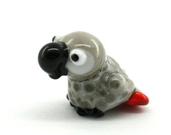 African grey parrot Lampwork  Bead / sculpture / figurine