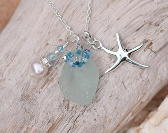 Turquoise Sea Glass Necklace 130-0064