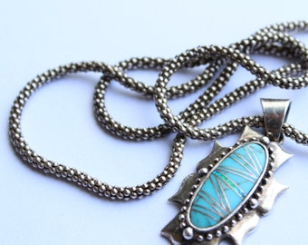 Sterling Silver  Pendant Necklace with Inlaid Turquoise, Opal