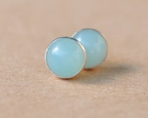 Amazonite Earrings handmade with Sterling Silver studs, 8 mm natural Amazonite gemstone and silver earrings, light turquoise, birthday gift