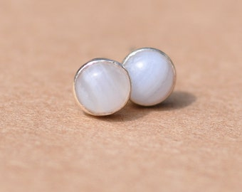 Agate Earrings with Sterling Silver Earring studs, 5mm Blue Lace Agate gemstones