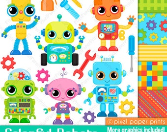 Colorful Robots - Clip art and Digital Paper Set - Robot clipart
