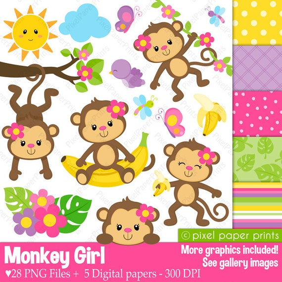 Monkey Girl - Clipart and Digital paper set - Monkey clip art