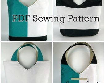 New Tote on the Block by Toriska, PDF sewing pattern, tote pattern, bag pattern, downloadable digital file, digital purse pattern, diy purse