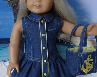 Yacht Club dress and nautical theme beach bag for American Girl or similar 18 inch doll
