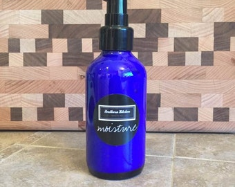 Moisture Face Cream for Southern Kitchen Beauty Box - 4 ounces in cobalt blue glass pump