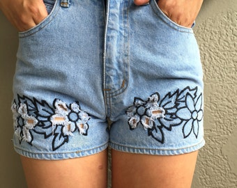 Vintage High Waisted Denim Shorts with Floral Embroidery and Cutout Detail