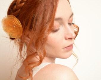 Gold flower hair clip - organza peony
