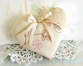 "Linen Heart Ornament 5"" Heart Door Hanger, Machine Embroidered Ecru Linen. Prim Handmade CharlotteStyle Decorative Folk Art"